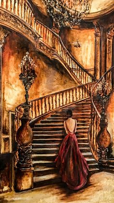 Fancy Ball by Talin Mert, x /.You can find Resim and more on our website.Fancy Ball by Talin Mert, x /. Watercolor Illustration, Watercolor Paintings, Oil Paintings, Oil Painting On Canvas, Canvas Art, Fantasy Paintings, Red Art, Beautiful Paintings, Lovers Art
