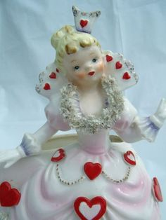 Relpo Valentine Planter Head Vase Girl Lady Queen of Hearts Ceramic # My Funny Valentine, Vintage Valentines, Valentines Day, Vintage Planters, Ceramic Planters, Sweet Hearts, I Love Heart, Inner Child, Valentine Decorations