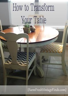 Painted Table with Chevron Chairs - Farm Fresh Vintage Finds