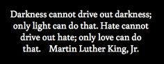 Darkness cannot drive out darkness; only light can do that.  Hate cannot drive out hate only love can do that