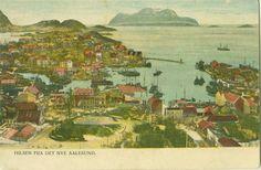 "Møre og Romsdal fylke Aalesund. Uvanlig ""Hilsen fra det nye Aalesund"", kolorert. Painting, Art, Art Background, Painting Art, Kunst, Paintings, Performing Arts, Painted Canvas, Drawings"