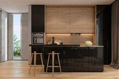 Cozinha com pisos e armários de madeira e laca preta brilhante. Um arraso!