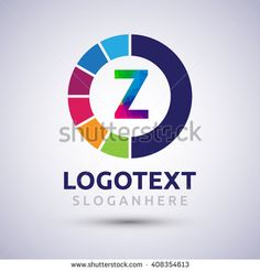 letter Z colorful logo on circle. Vector design template elements for your application or company logo identity. - stock vector
