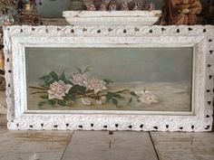BLUSH ROSES VICTORIAN OIL PAINTING