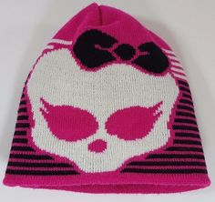 Monster High Girls Skull with Bow Beanie Hat Pink With Black And White Stripes #MonsterHigh #Beanie