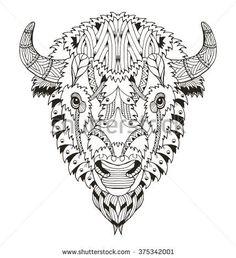 Bison Tattoo, Animals With Horns, Coloring Books, Coloring Pages, Buffalo Art, Native American Flute, Mandala Drawing, Mandala Tattoo, Wood Burning Art