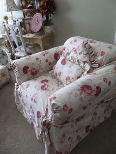 *CURRENTLY LISTED FOR SALE ON EBAY!  WAVERLY VINTAGE NORFOLK ROSE CHAIR SLIPCOVER sHaBbY cOtTaGe cHic Romantic Home #Waverly #Cottage