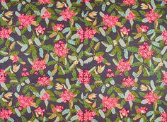 Jobs Handtryck of Sweden, design by Cecilia Hall. Rhododendron, dark grey