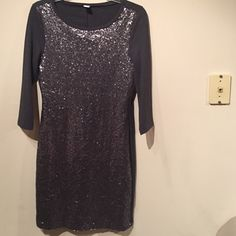Like new sequin Old Navy dress Cute Old Navy sequin front dress with three quarter sleeve length, only worn once. Grayish blue color. Old Navy Dresses Mini