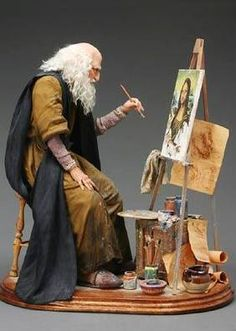 Marianne Reitsma - Leonardo da Vinci Height: 37 cm seated, easel 37 cm Award: 1996 - First Prize - Original doll, direct sculpting - Santa Fe Doll Art 96 Dollhouse Dolls, Miniature Dolls, Dollhouse Miniatures, Ooak Dolls, Art Dolls, Mona Lisa, Kobold, Paperclay, Art Moderne