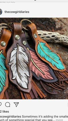 Hand tooled feather keychain measuring approximately including keyring. Acc… Hand tooled feather keychain measuring approximately including keyring. Leather Carving, Leather Art, Painting Leather, Leather Gifts, Leather Tooling, Leather Jewelry, Diy Leather Keychain, Leather Totes, Sewing Leather