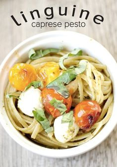 Slice up an Alexia Artisan Garlic Baguette for the perfect dinner with this Caprese Pesto Linguine.
