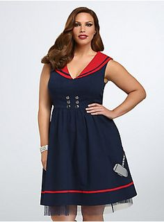 """<p>By Odin's beard, this is one awesomely retro dress! The navy dress has an adorable button front, flared skirt with a tulle underlay, and a super-sweet red sailor bib. The Thor hammer applique is as awesome powerful as the Norse god himself.</p> <p> </p> <p><b>Model is 5'9.5"""", size 1</b></p> <ul> <li>Size 14 measures 41 1/4"""" from shoulder</li> <li>Rayon/nylon/spandex/polyester</li> <li>Wash cold, dry flat</li> <li>Imported plus size dress</li> </ul>"""