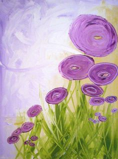 Abstract Art Design Purple Flowers #modern #abstract #art #painting #brigteam @Linnea Trudevall Heide $20