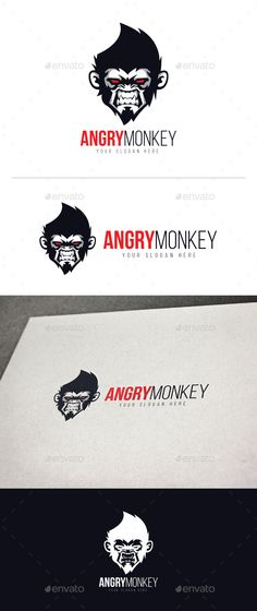 Angry Monkey Logo Template Vector EPS, AI Illustrator