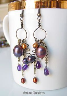 Amethysts, pearls and bronze chain artisan handcrafted earrings | Schaef Designs Gemstone Jewelry | online jewelry boutique | San Diego, CA