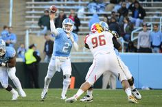North Carolina Tar Heels quarterback Bryn Renner (2) passes the ball as Maryland Terrapins defensive lineman A.J. Francis (96) defends in the second quarter at Kenan Stadium. (Bob Donnan-USA TODAY Sports)