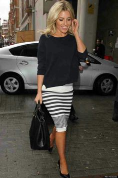 Black  white midi skirt for summer work outfit