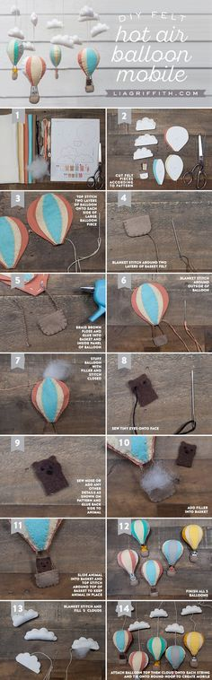 hot air balloon mobile from felt by Lia Griffith