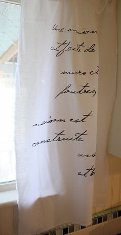 The Shabby Creek Cottage - interior design and home remodeling on a budget: fabulously french curtains for five dollars (ok maybe not the french but the design is a cool idea. French Curtains, Diy Curtains, Muslin Curtains, Painted Curtains, Bedroom Curtains, Drapery, Burlap Bedroom, Cottage Curtains, Homemade Curtains