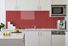 Is your colour red? Your personality should always be reflected back you in your kitchen Modern Kitchen Tiles, Kitchen Splashback Tiles, Kitchen Tiles Design, Red Kitchen, Kitchen Reno, Kitchen Colors, Kitchen Cabinets, Red Tiles, Black Tiles