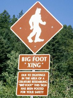Pikes Peak Bigfoot Crossing sign. You never know what you'll find hiking this mountain... be aware!