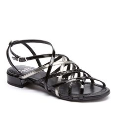 Look at this Amalfi Black Snakeskin Robust Leather Sandal on #zulily today!