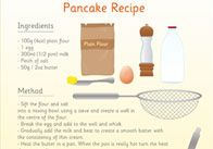 Illustrated pancake recipe, perfect for Shrove Tuesday.