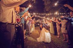 Charleston outdoor wedding reception with sparklers