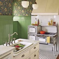 A 1920's gas- and wood-burning stove is the focal point of this vintage-style kitchen. | Photo: Nathan Kirkman | thisoldhouse.com