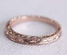 Antique Design 14k White Gold/ Rose Gold/ Yellow Gold Band Wedding Ring/ Band/ Promise Ring/ Engagement Ring from AdamJewelry on Etsy. #weddingrings. #weddingringsgoldbeautiful
