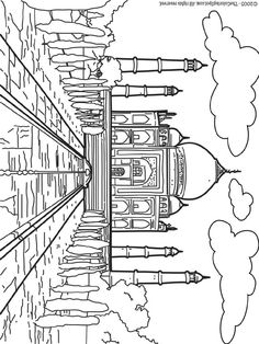 coloring page World wonders on Kids-n-Fun. Coloring pages of World wonders on Kids-n-Fun. More than coloring pages. At Kids-n-Fun you will always find the nicest coloring pages first! Cool Coloring Pages, Coloring Pages To Print, Adult Coloring Pages, Coloring Pages For Kids, Coloring Books, Taj Mahal Dibujo, India Colors, Great Wall Of China, Thinking Day