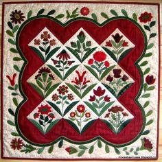 Summer blooms by Primitive Gatherings Wool Applique, Applique Quilts, Embroidery Applique, Machine Embroidery, Applique Designs, Quilting Designs, Applique Ideas, Quilting Ideas, Quilt Patterns