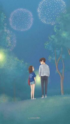 32 Ideas Eye Ilustration Simple Anime Art For 2019 Cute Couple Cartoon, Cute Love Cartoons, Cute Couple Art, Anime Love Couple, Cute Anime Couples, Cute Couple Wallpaper, Simple Anime, K Wallpaper, Korean Art