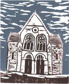 """""""The Chapel"""" Abergavenny by Alexis Snell (lino block print) Town Drawing, Lino Art, 8th Grade Art, Linoprint, A Level Art, City Landscape, Chapelle, Tampons, Wood Engraving"""