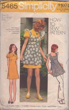 MOMSPatterns Vintage Sewing Patterns - Simplicity 5465 Vintage 70's Sewing Pattern SWEET Mod Babydoll Ruffle Sleeve Square Neck Pinafore Apron Top, Mini Dress Size 10