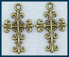 4 Antique Bronze Cross Charms LOW SHIPPING by angelsandcrafts on Etsy $1.55