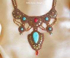 Bead Embroidery Necklace Bronze Turquoise Gold by BobeIkotics