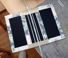 For this step you will need your nearly completed book cover, ribbon, craft knife and glue.   With the craft knife, cut a length of ribbon that will be long enough to glue inside the cover and then to extend outside the edge of the book (picture 1).
