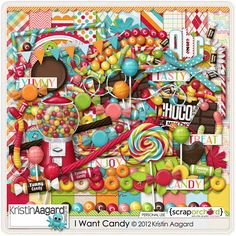 I Want Candy is a huge and sweet candy themed kit by Kristin Aagard. Kit includes 20 textured papers, full alpha in 2 colors and over 40 unique elements and 9 word art/word strips.