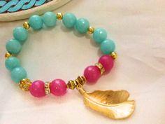 Pluma pulsera pulseras de piedras preciosas rubí y por Nezihe1