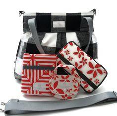 Diaper Bag Gift Set - Black Plaid Diaper Bag - Coral Floral Wipes Case - Coral Floral Travel pad - pacifier pod - Messenger Strap