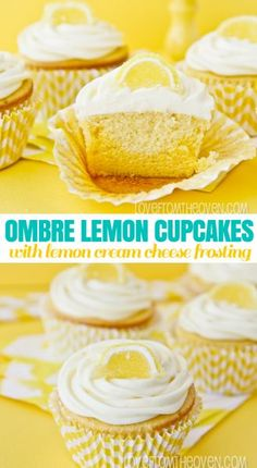 Lemon Cupcakes With Lemon Cream Cheese Frosting. This frosting is seriously the best thing ever, I could just make a big bowl of it and grab a spoon!