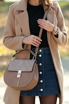 Camel Coat On Button Skirt Fall Street Style Inspo by Style and Blog