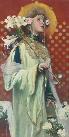 Gottlieb Theodor von Kempf-Hartenkampf (Austrian, LILIES oil on canvas X cm Gravure Illustration, La Madone, Lady Godiva, Art Japonais, Victorian Art, Religious Art, Figurative Art, New Art, Art Inspo
