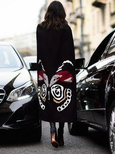 brilliant cape. Leila in Milan. #LeilaYavari