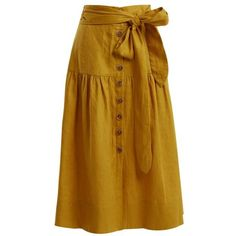 Sea Elsie tie-waist linen midi skirt ($410) ❤ liked on Polyvore featuring skirts, yellow, high waisted knee length skirt, yellow midi skirt, ruched midi skirt, high-waisted midi skirts and midi skirt