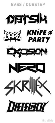 Often times there are common visual themes in music genres. Bass and Dubstep in particular has a certain look. These are a few selections of artist logos.