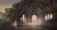 The portal of imagination, Anne Scottlin, Digital, 2019 : Art Fantasy City, Fantasy Kunst, Fantasy Places, High Fantasy, Sci Fi Fantasy, Fantasy World, Fantasy Art Landscapes, Fantasy Landscape, Fantasy Artwork