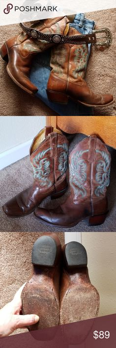 Nocona Ladies Sz 8B Beautiful snip toed ladies western boot, from quality shoemaker Nocona...yes, they've been used, but lot of life left... you may eventually want to get the heel rubber replaced, but for ya'll that's owned boots, that's normal, AND one of the benefits of these boots,  you can have them rebuilt(for those that are new to boots).  Sz 8m Color beautiful med brown w/turquoise&tan stitching on shaft...  Thanks for looking at my closet and have a great day! Nonsmoker Nocona Shoes…